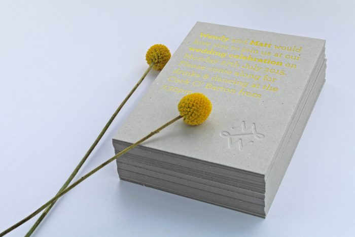 Bespoke Wedding Collection Foil Stamped in Yellow with Blind Embossing on Greyboard