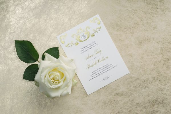 Beaumont Wedding Invitation Foil Printed in Gold on White Pearl Card