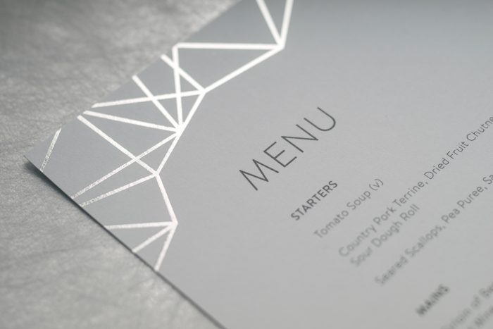 Geometric Wedding Menu Foil Stamped in Silver on White Card