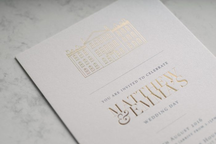 Bespoke Wedding Invitation with Modern Illustration Venue hot foiled in Gold on Pearl Card