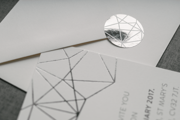 Geometric Wedding Invitation Foil Stamped in Silver on White Card