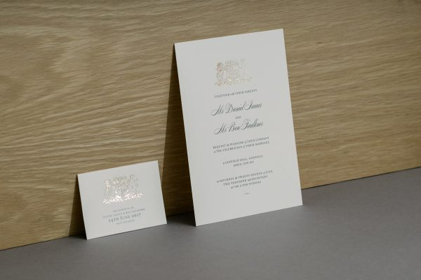 Bespoke Wedding Invitation Foil Printed in Antique Gold on White Pearl Card