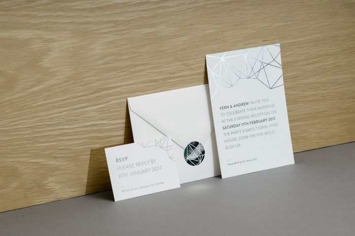 Geometric Wedding Stationery Hot Foil Stamped in Silver on White Pearl Card