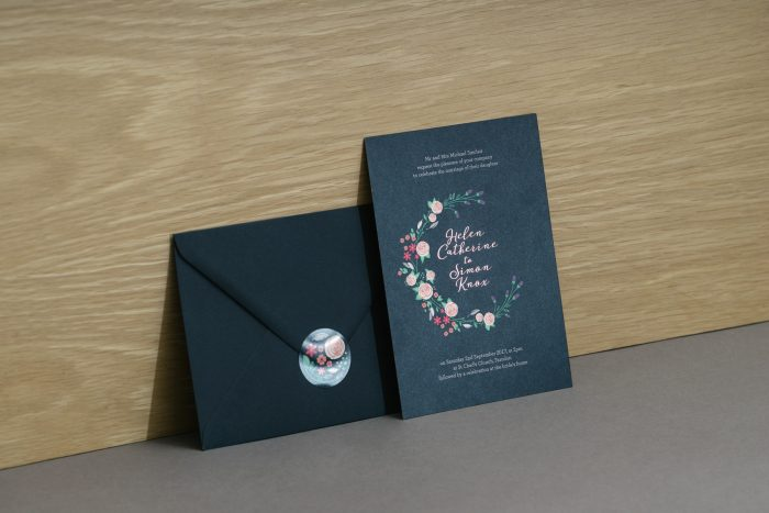 Farndon Wedding Stationery Foil Stamped in Blush on Navy Card