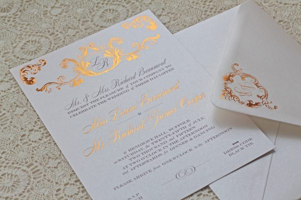 Beaumont Wedding Invitation Foil Stamped in Rose Gold on Oyster Pearl Card