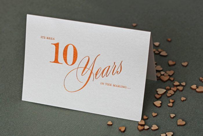 Bespoke Greeting Card Foil Pressed in Copper Foil, on Oyster Pearl Card