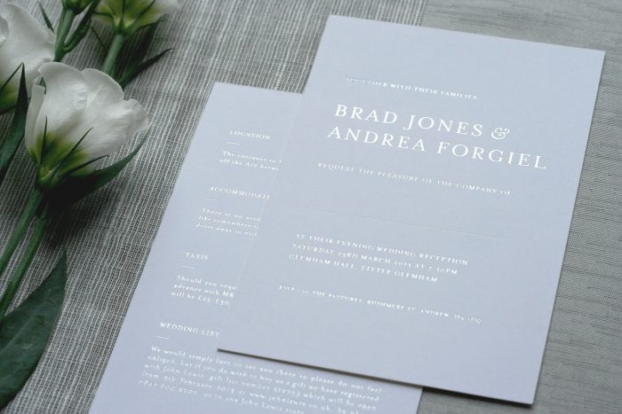 Bespoke Invitation Foil Printed in Silver on White Card