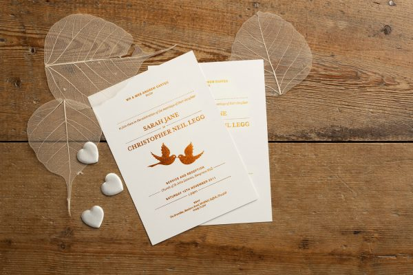 Bespoke Love Birds Wedding Invitation Foil Pressed in Copper on Ivory Card