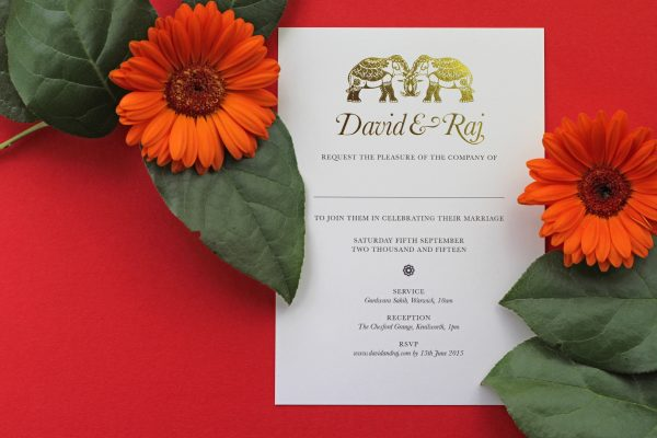 Bespoke Wedding Invitation Foil Pressed in Gold on White Card