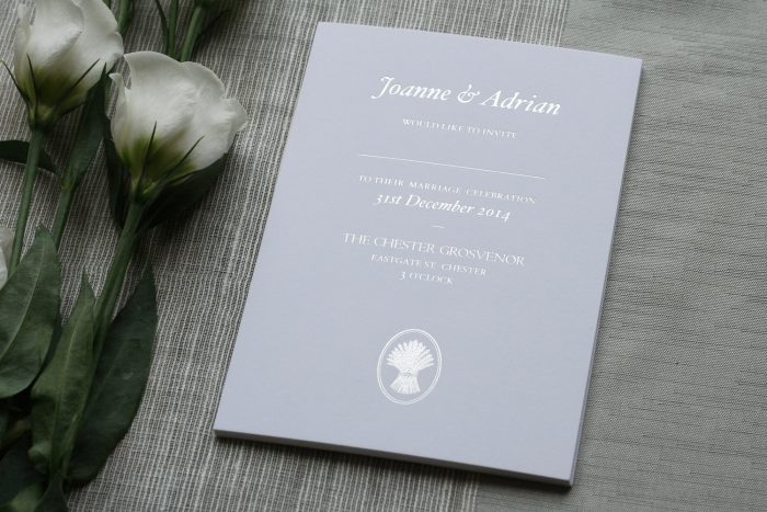 Bespoke Wedding Invitation Foil Printed in Silver on White Card