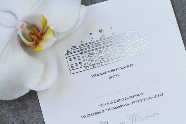Bespoke Wedding Invitation with Venue Illustration Foil Printed in Silver on White Card