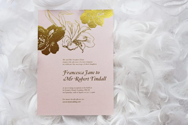 Bloom Wedding Invitation Foil Printed in Gold on Blush Card