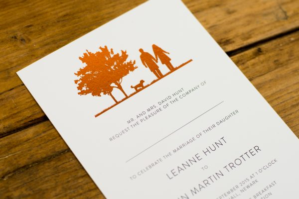Country Walk Wedding Invitation Foil Pressed in Copper on White Card
