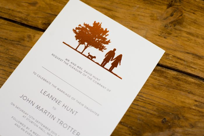 Country Walk Wedding Invitation Foil Stamped in Copper on White Card