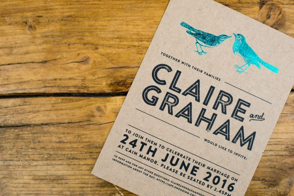 Engravers Wedding Invitation Foil Stamped with Teal on Kraft Card