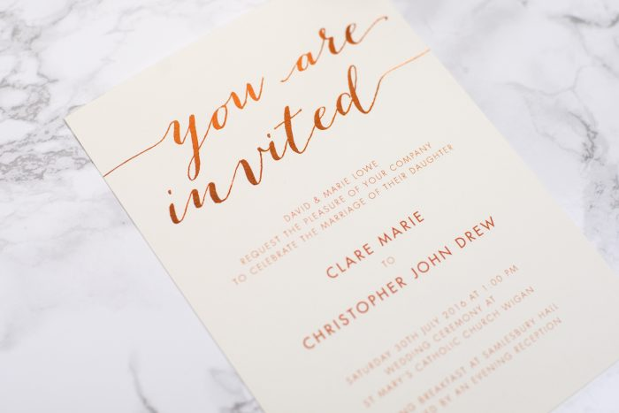 Louise Wedding Invitation Foil Pressed in Copper on Ivory Card