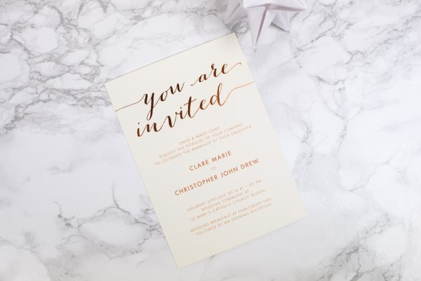 Louise Wedding Invitation Foil Stamped in Copper on Ivory Card