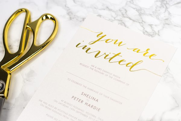 Louise Wedding Invitation Foil Stamped in Gold on Oyster Pearl Card