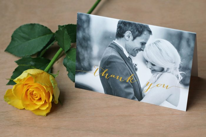 Louise Wedding Thank You Card Foil Stamped in Gold