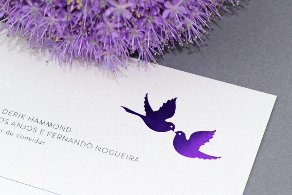 Love Birds Wedding Invitation Foil Printed in Amethyst Foil on White Pearl Card