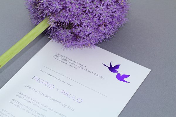 Love Birds Wedding Invitation Foil Stamped in Amethyst Foil on White Pearl Card