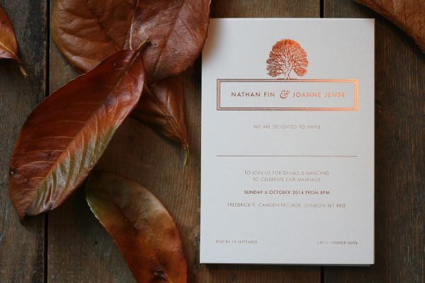 Oak Wedding Invitation Foil Pressed in Copper on Ivory Card