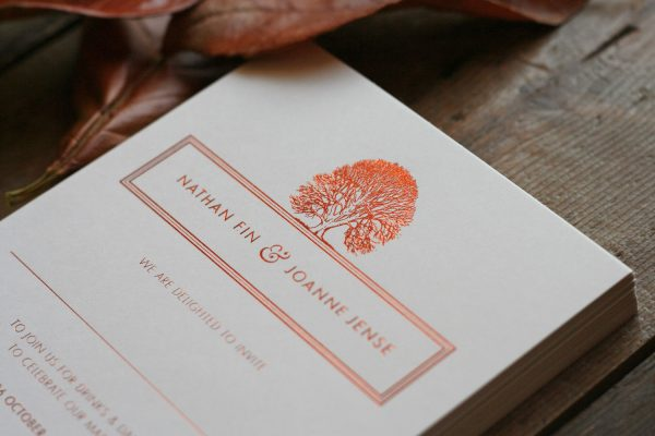 Oak Wedding Invitation Foil Stamped in Copper on Ivory Card
