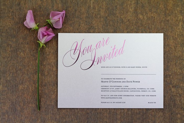 Pemberley Wedding Invitation Foil Pressed in Blossom on White Card