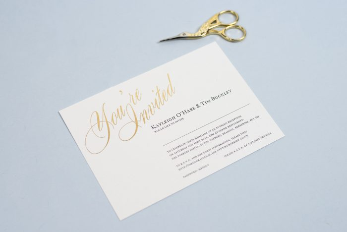 Pemberley Wedding Invitation Foil Printed in Gold on White Card