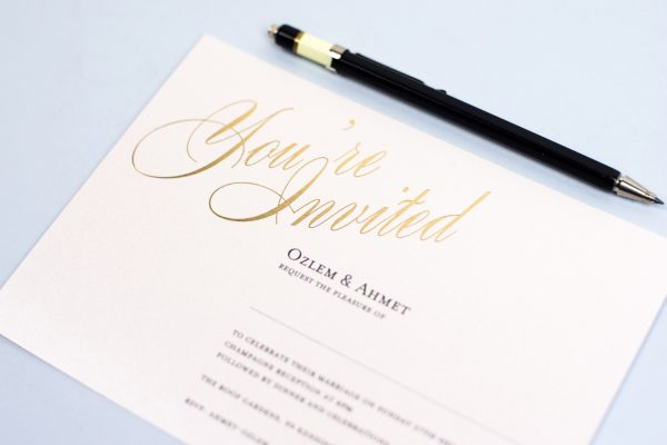 Pemberley Wedding Invitation Foil Stamped in Gold on White Card