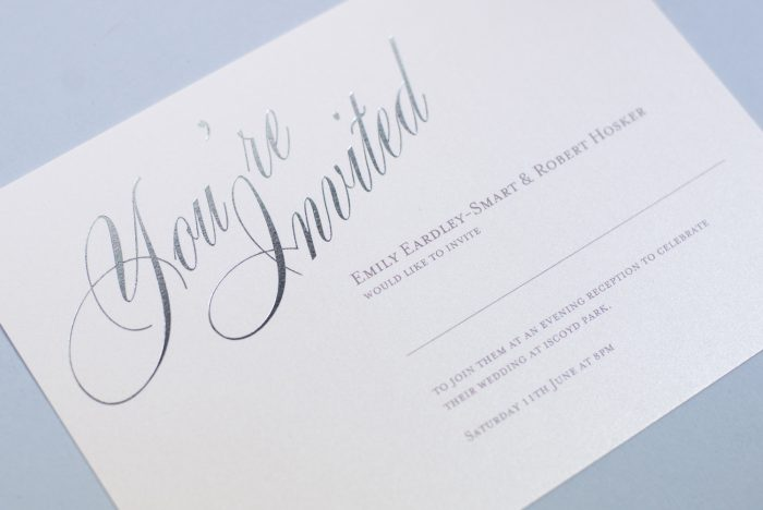 Pemberley Wedding Invitation Foil Stamped in Silver on White Card