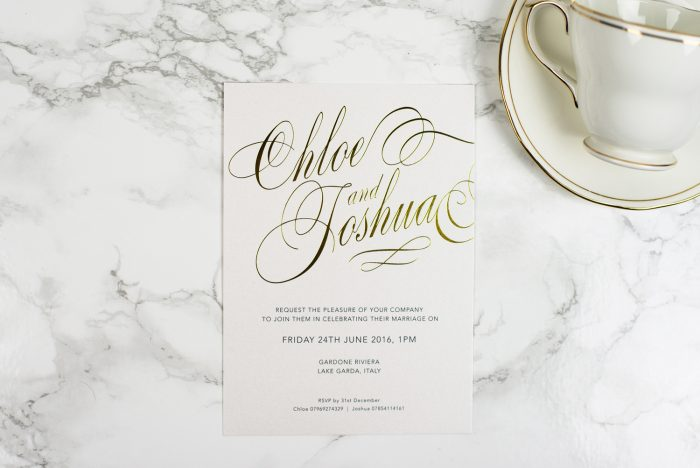 Script Wedding Invitation Foil Stamped in Gold on White Pearl Card