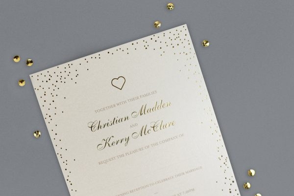 Sparkle Bespoke Wedding Invitation Foil Pressed in Gold on Ivory Card Product Photo