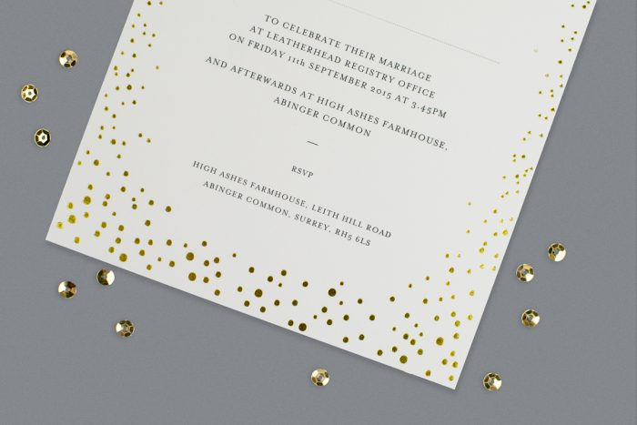 Sparkle Wedding Invitation Foil Pressed in Gold on Ivory Card Product Photo