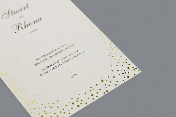Sparkle Wedding Invitation Foil Pressed in Gold on White Card Product Photo