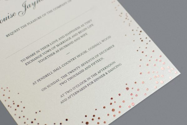 Sparkle Wedding Invitation Foil Pressed in Rose Gold on White Card Product Photo