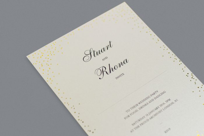 Sparkle Wedding Invitation Foil Printed in Gold on Ivory Card Product Photo