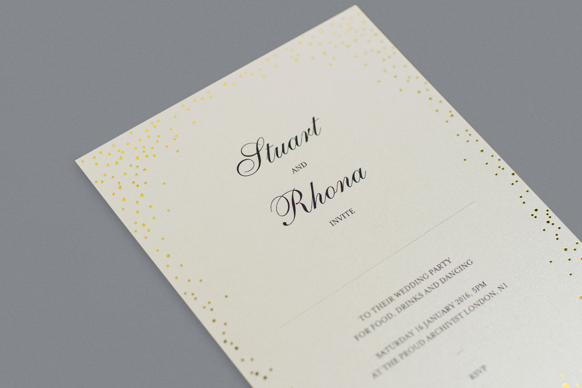 Sparkle Wedding Invitation Foil Printed In Gold On Ivory Card