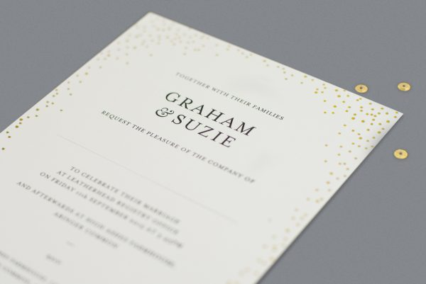 Sparkle Wedding Invitation Foil Stamped in Gold on White Card Product Photo