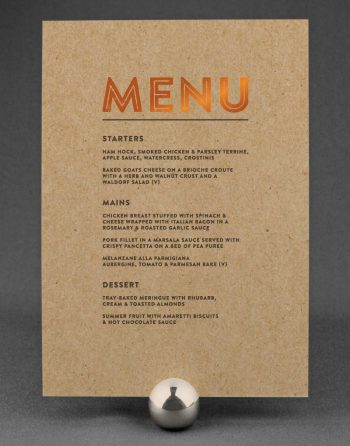 Engravers Wedding Menu Foil Printed in Copper on Kraft Card