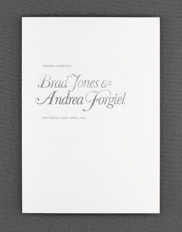 Elegance Order of Service Foil Stamped in Silver on White Card