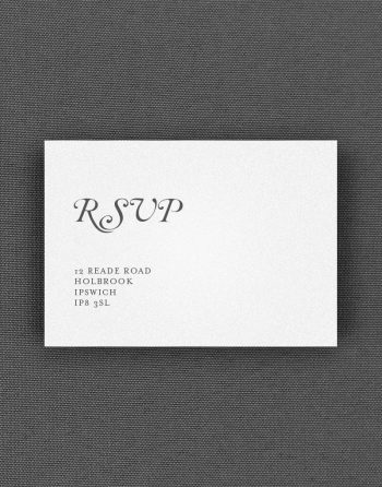 Elegance RSVP Card with Charcoal Ink on White Card