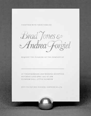 Elegance Wedding Invitation Foil Pressed in Silver on White Card