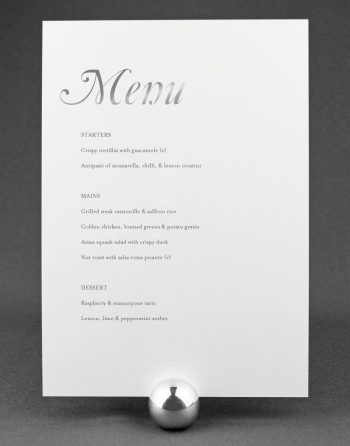Elegance Wedding Menu Foil Pressed in Silver on White Card