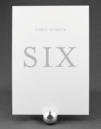 Elegance Wedding Table Number with Smoke Ink on White Card
