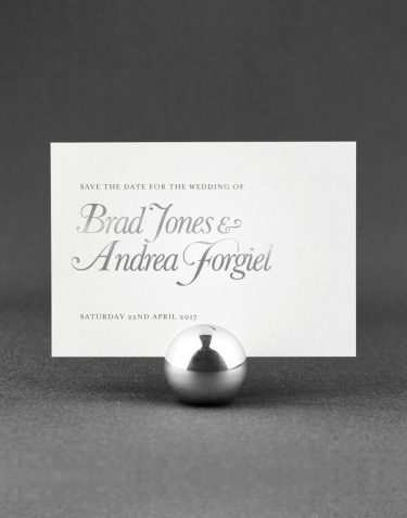 Elegance Save the Date Foil Pressed in Silver on White Pearl Card