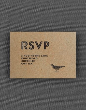 Engravers RSVP Card on Kraft Card