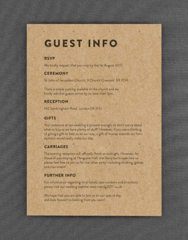 Engravers Wedding Guest Information Card with Charcoal Ink on Kraft Card