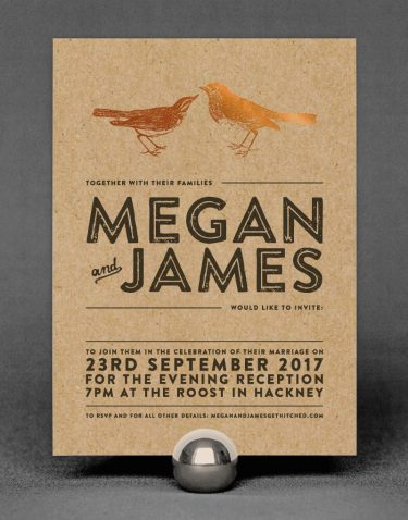 Engravers Wedding Invitation Foil Stamped in Copper on Kraft Card