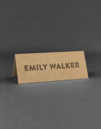 Engravers Wedding Place Card Printed with Charcoal Ink on Kraft Card